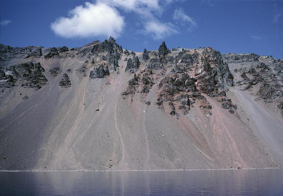 Crater Lake Volcanic Wall, Usa Photograph