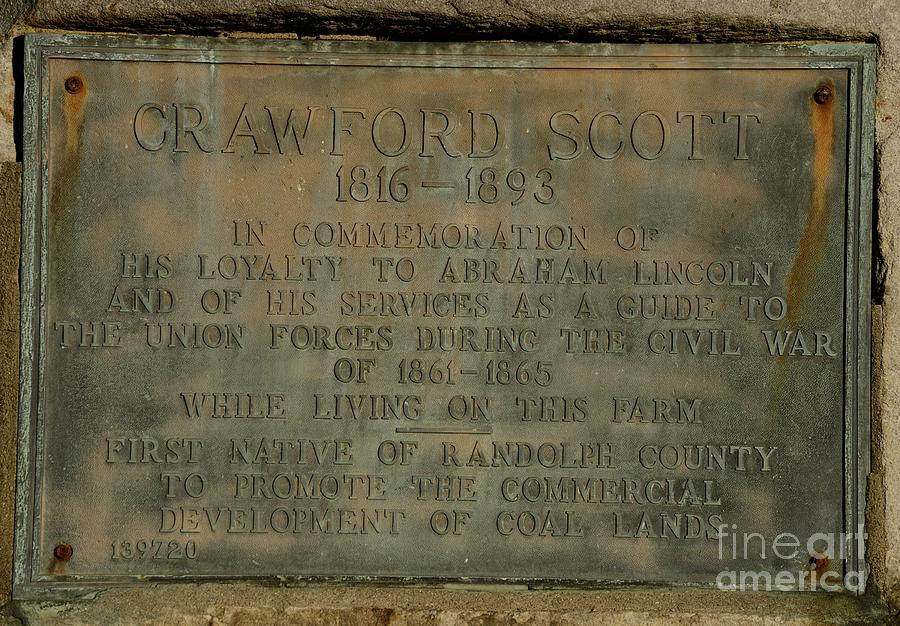 Crawford Scott Historical Marker Photograph  - Crawford Scott Historical Marker Fine Art Print