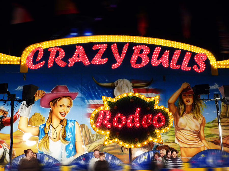 Crazy Bulls Digital Art  - Crazy Bulls Fine Art Print