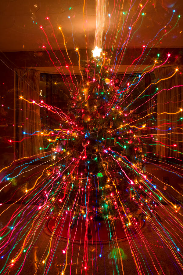 Crazy Fun Christmas Tree Lights Abstract Print Photograph