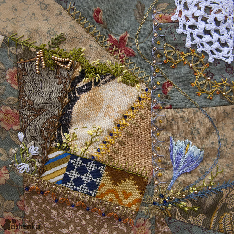 crazy quilt block May 2 Photograph  - crazy quilt block May 2 Fine Art Print
