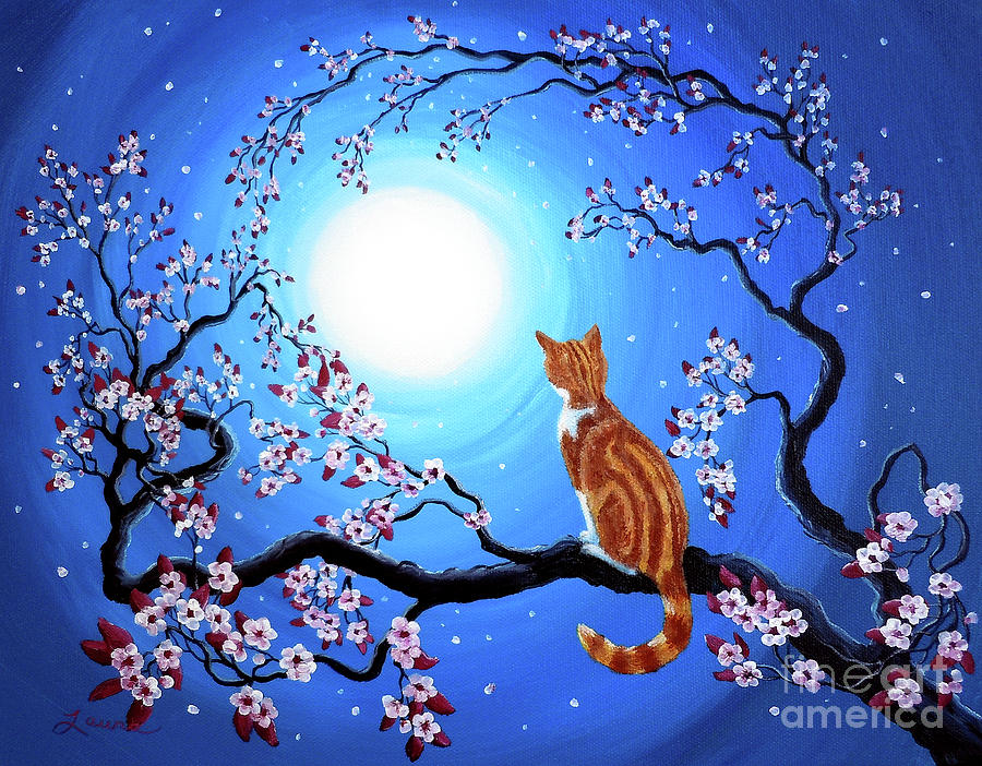 Creamsicle Kitten In Blue Moonlight Painting