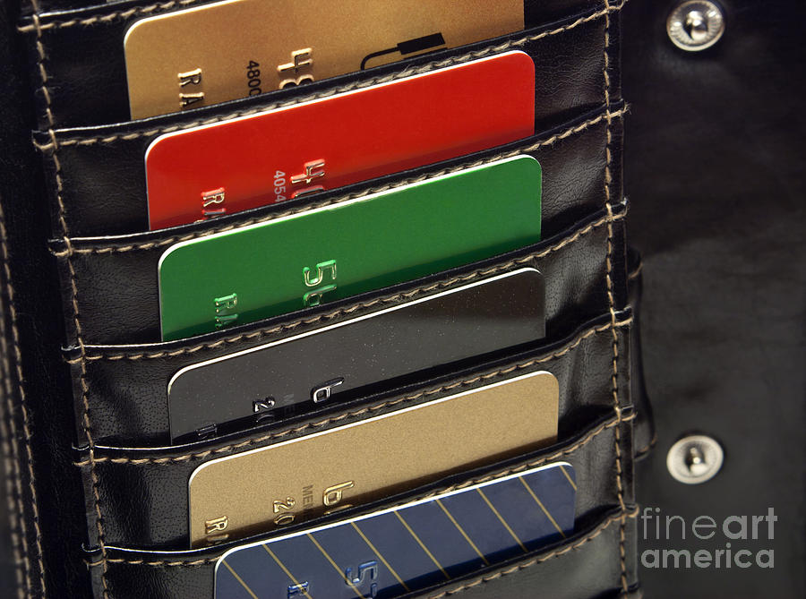 Credit Cards In Wallet Photograph  - Credit Cards In Wallet Fine Art Print