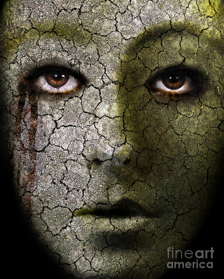 Creepy Cracked Face With Tears Photograph  - Creepy Cracked Face With Tears Fine Art Print