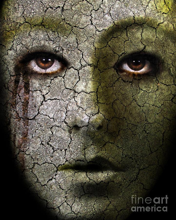 Creepy Cracked Face With Tears Photograph