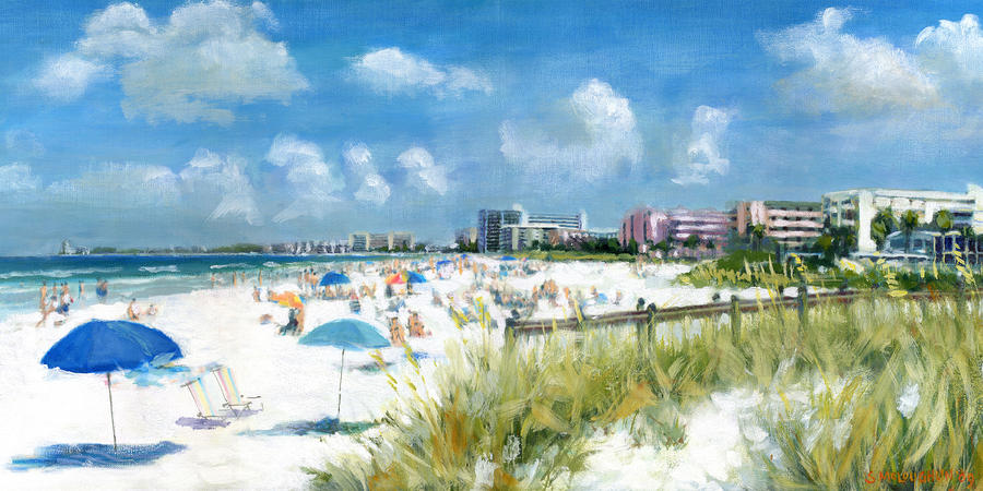 Crescent Beach On Siesta Key Painting  - Crescent Beach On Siesta Key Fine Art Print
