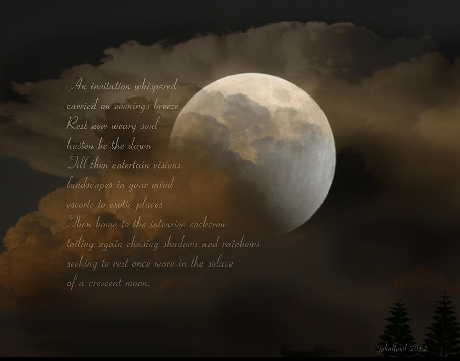 Poem Photograph - Cresent Moon  by Joseph G Holland