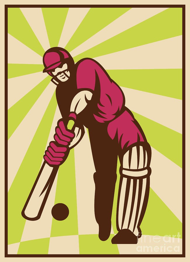 Cricket Sports Batsman Batting Retro Digital Art