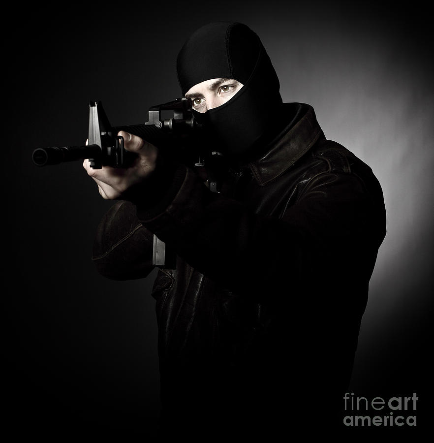 Criminal With Rifle Photograph  - Criminal With Rifle Fine Art Print