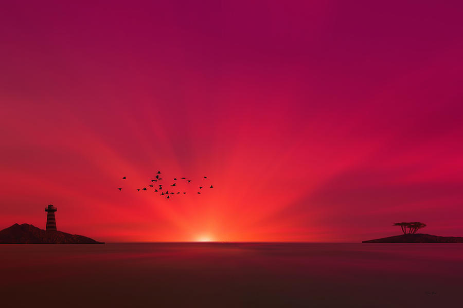 Seascape Photograph - Crimson Sunset by Tom York Images