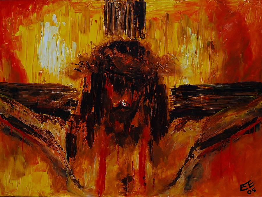 Cristo Crucificado Painting By Pete Lopez