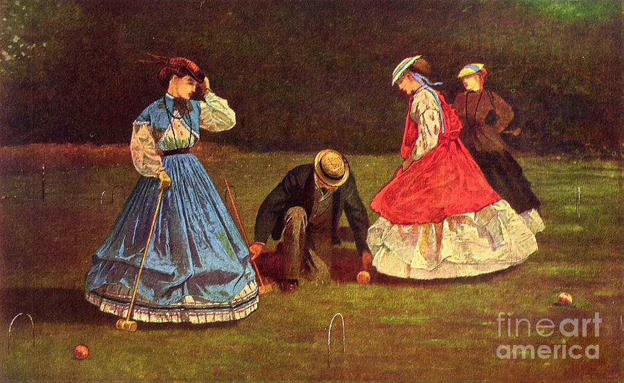 Croquetspiel By Winslow Homer  Painting  - Croquetspiel By Winslow Homer  Fine Art Print