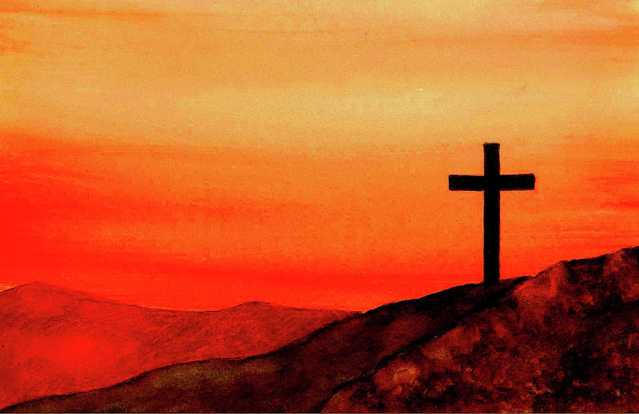 Cross At Sunset Painting  - Cross At Sunset Fine Art Print