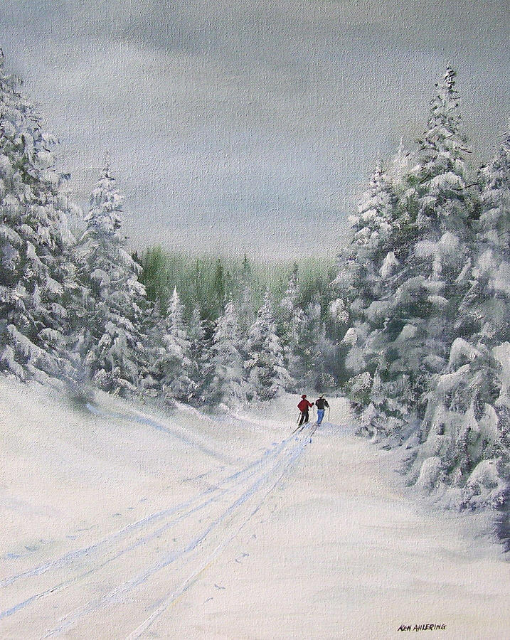 Cross Country Skiers Painting  - Cross Country Skiers Fine Art Print