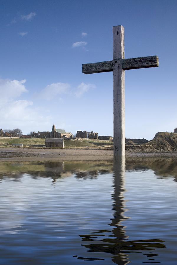 Calm Photograph - Cross In Water, Bewick, England by John Short