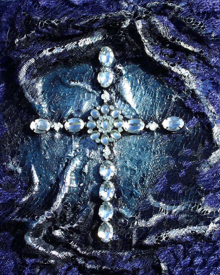 Cross With Siver Mixed Media  - Cross With Siver Fine Art Print