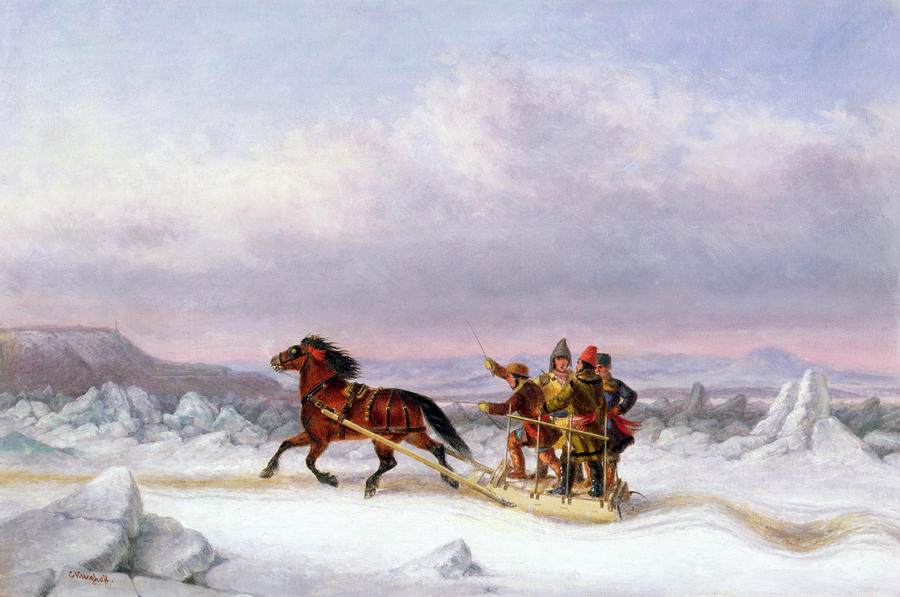 Crossing The Saint Lawrence From Levis To Quebec On A Sleigh Painting  - Crossing The Saint Lawrence From Levis To Quebec On A Sleigh Fine Art Print