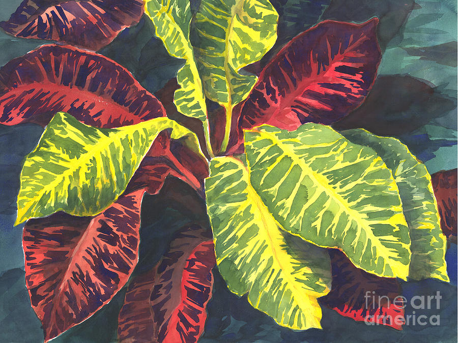 Croton Plant Painting By Audrey Peaty