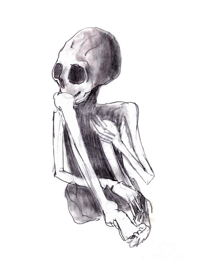 Crouched Skeleton Drawing  - Crouched Skeleton Fine Art Print