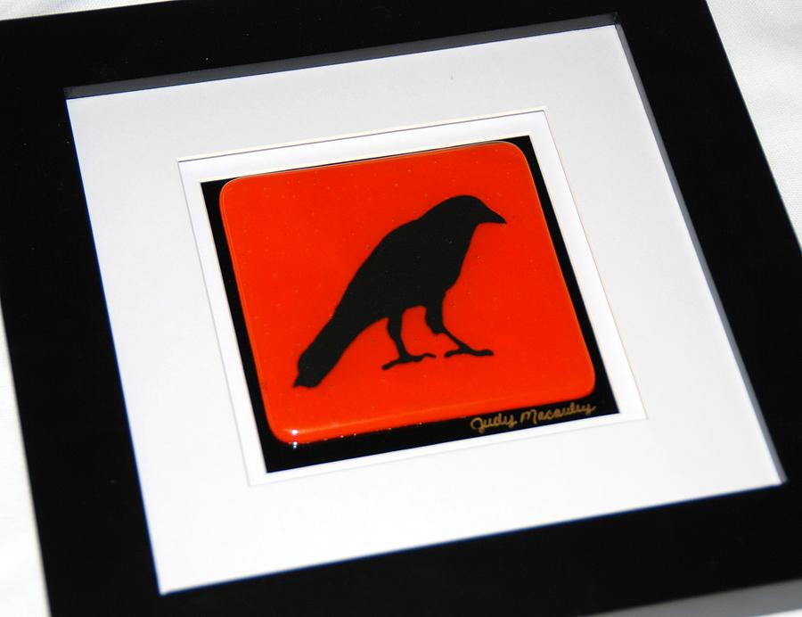Crow IIi Silhouette Glass Art