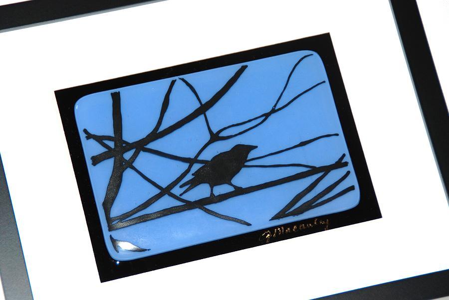 Crow On A Wire Glass Art