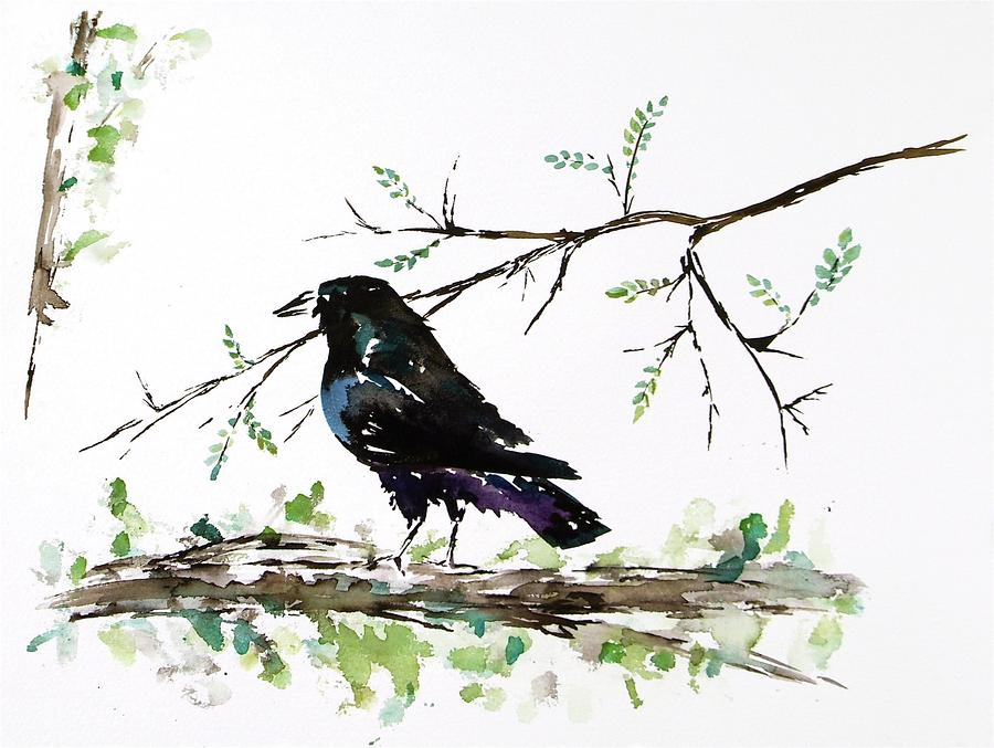Crow On Branch Painting