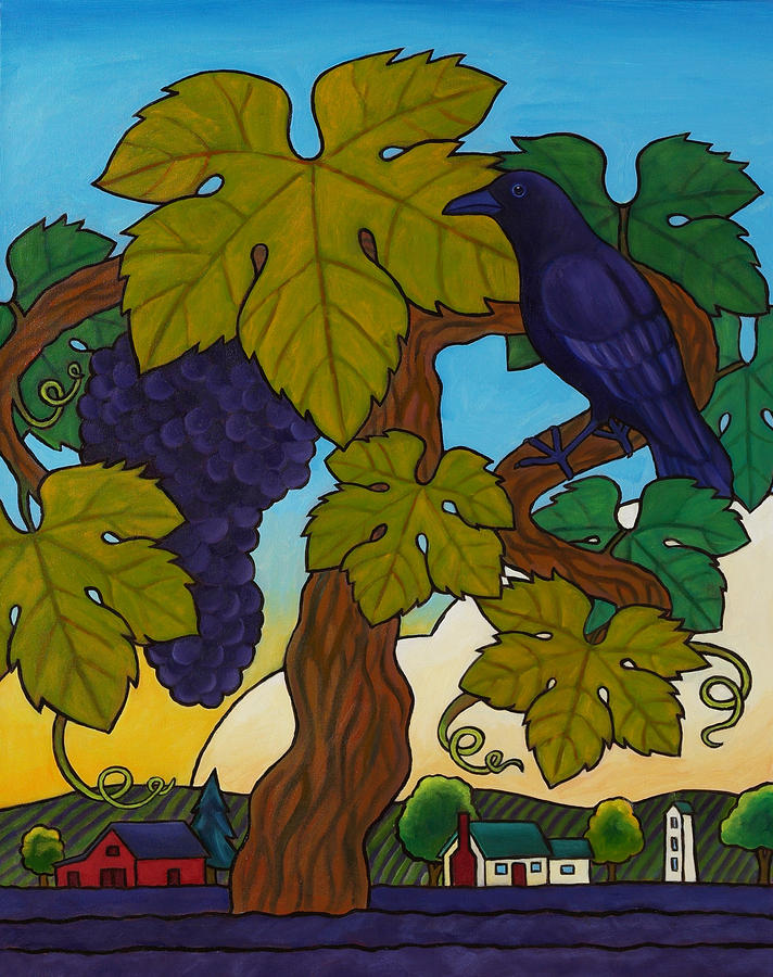 Crow With Wine On The Vine Painting  - Crow With Wine On The Vine Fine Art Print
