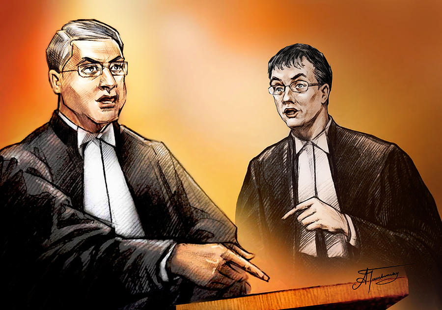Crown Michael Carnegie Versus Defence Lawyer Dirk Derstine At The Rafferty Trial Painting