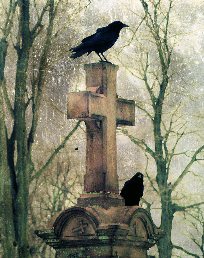 Crows And Old Cross Photograph  - Crows And Old Cross Fine Art Print