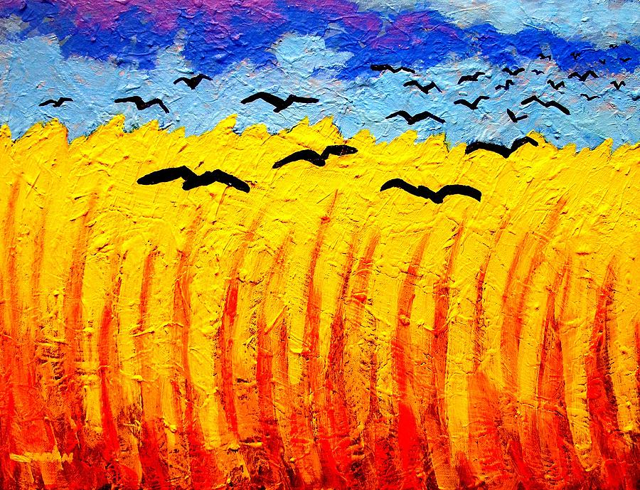 Crows Over Vincents Field Painting  - Crows Over Vincents Field Fine Art Print