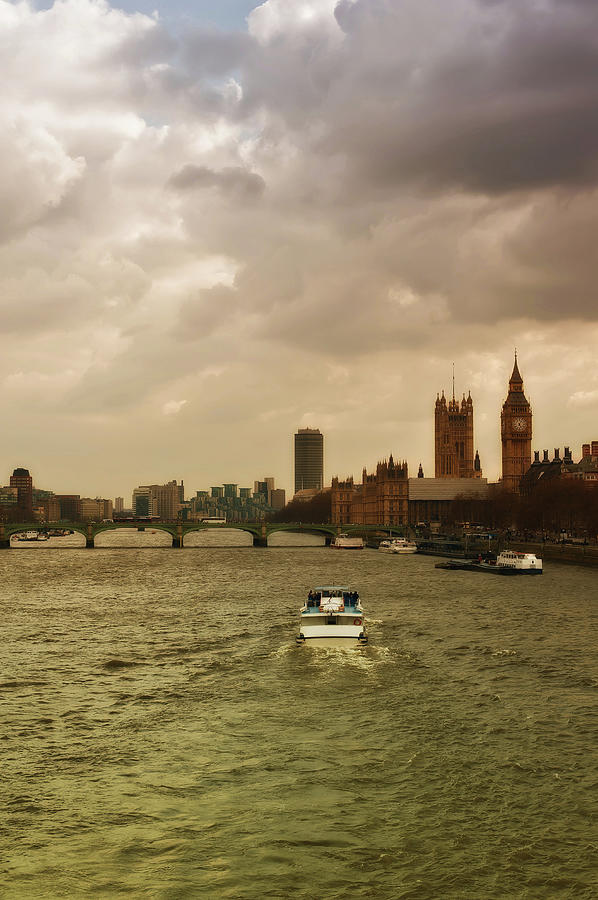 Vertical Photograph - Cruise On River Thames In London - England by Alexandre Fundone