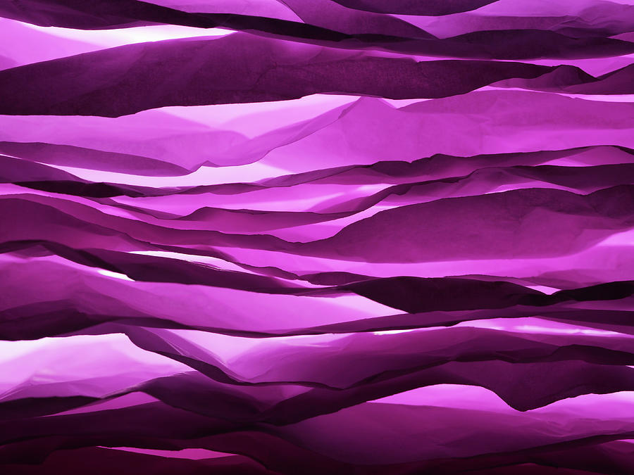 Crumpled Sheets Of Purple Paper. Photograph  - Crumpled Sheets Of Purple Paper. Fine Art Print