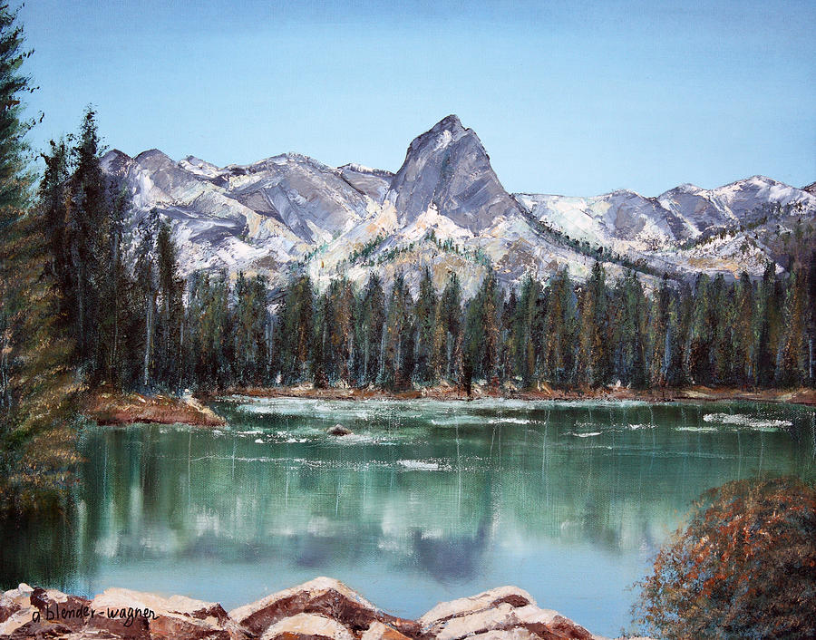 Crystal Crag From Twin Lakes Mammoth Ca Painting  - Crystal Crag From Twin Lakes Mammoth Ca Fine Art Print