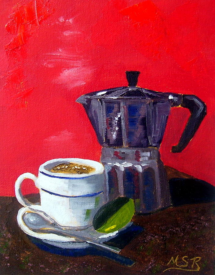 Cuban Coffee And Lime Red Painting  - Cuban Coffee And Lime Red Fine Art Print