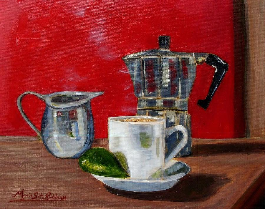 Cuban Coffee Lime And Creamer Painting  - Cuban Coffee Lime And Creamer Fine Art Print