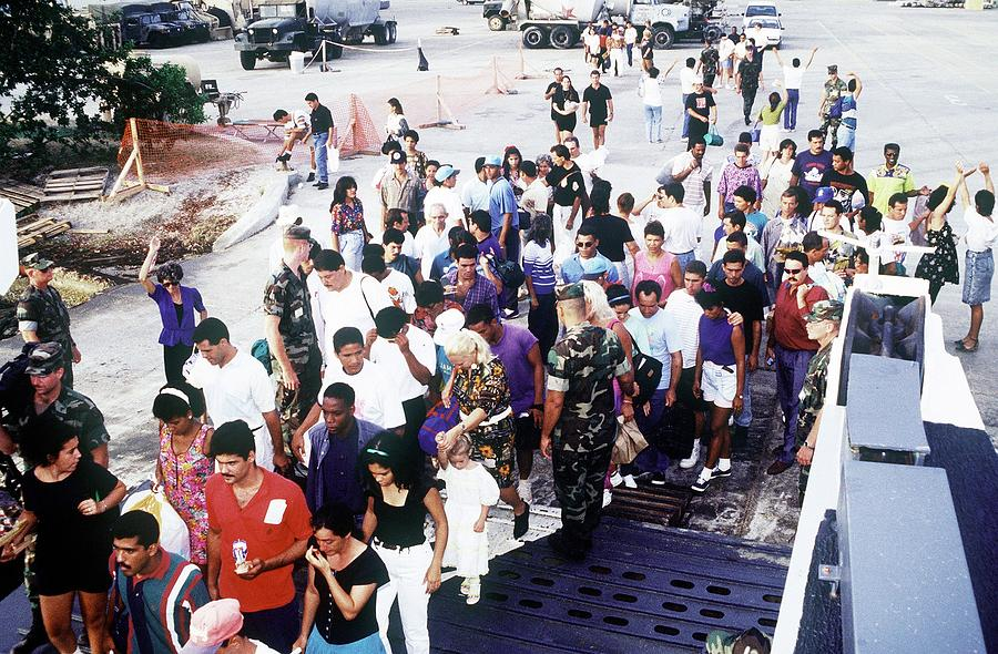 Cuban Migrants At Guantanamo Bay Naval Photograph