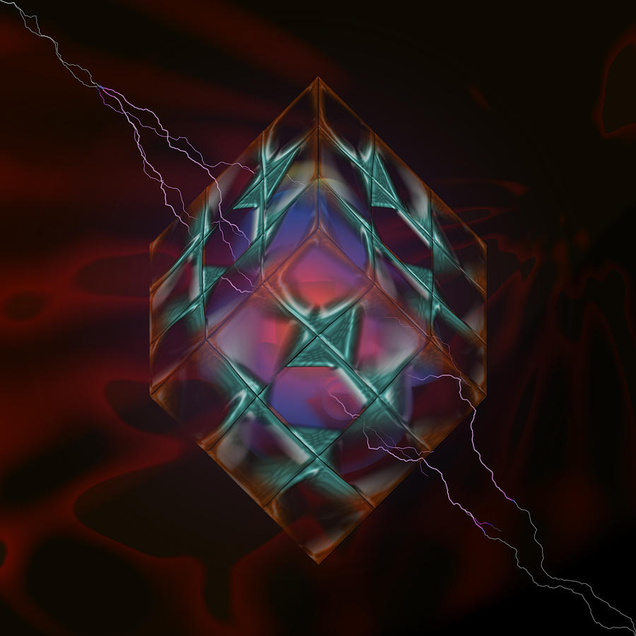 Cube With Thunders 01 Digital Art