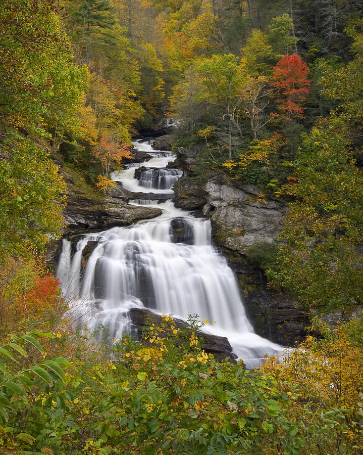 Cullasaja Falls - Wnc Waterfall In Autumn Photograph