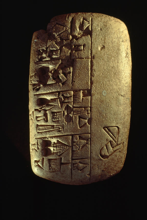 Cuneiform Writing Describes Commodities Photograph  - Cuneiform Writing Describes Commodities Fine Art Print