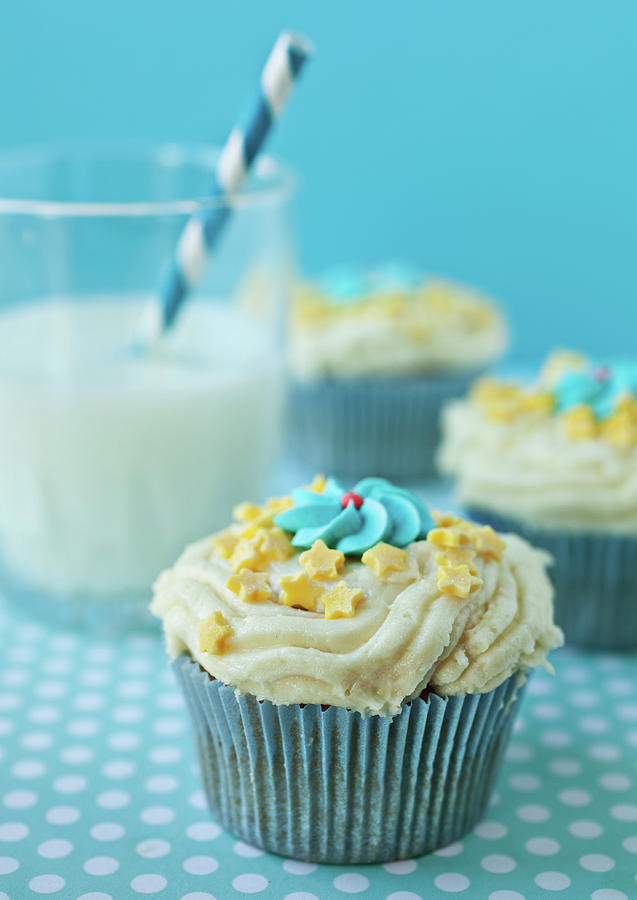 Cup Cake With Stars Topping Photograph
