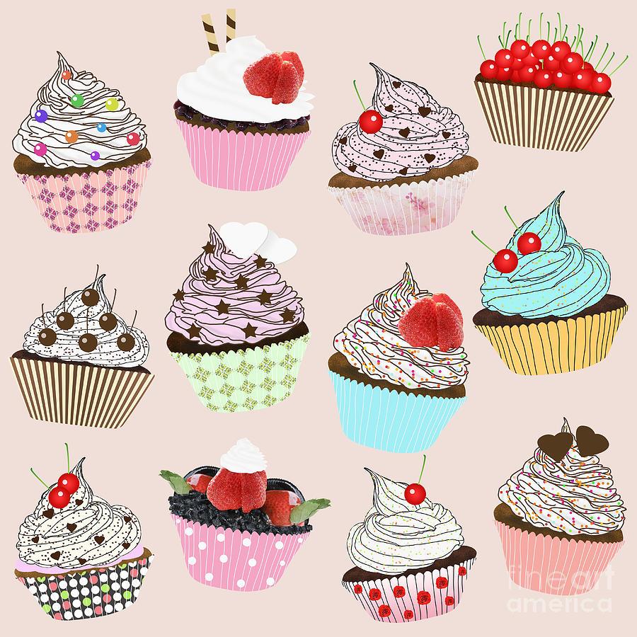 Cupcake Art Design : Cupcake Painting by Setsiri Silapasuwanchai