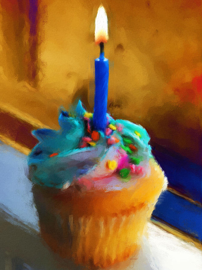 Cupcake With Candle Painting  - Cupcake With Candle Fine Art Print