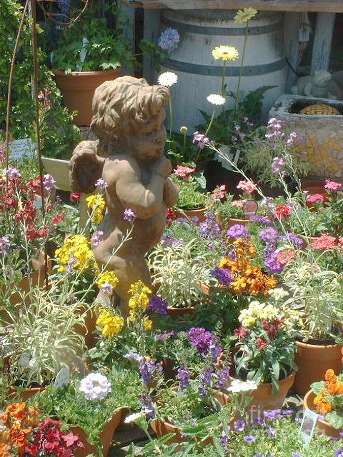 Joan Jones Photo; Joan Fuhrman Jones Photo; Cupid Statue; Flowers; Summer Blooms Photograph - Cupid And A Mixed Bouquet by Joan  Jones