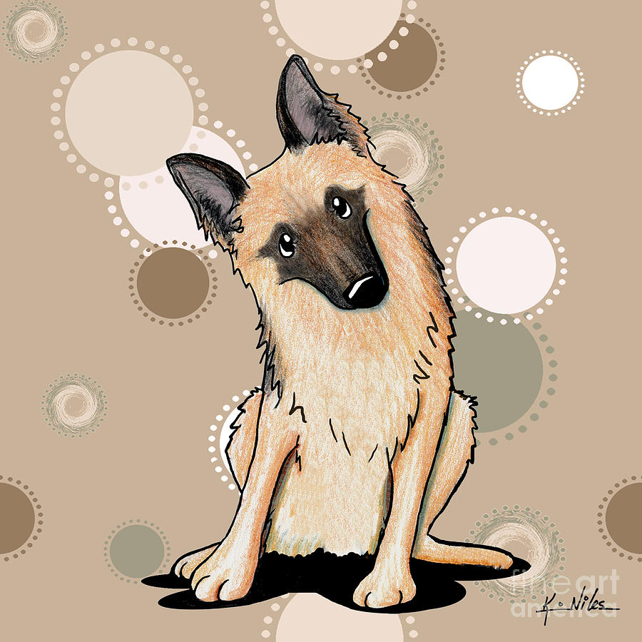 Curious German Shepherd Drawing  - Curious German Shepherd Fine Art Print