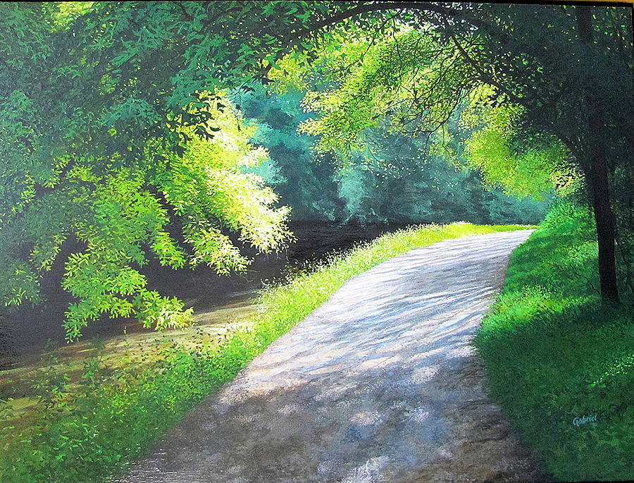 Curve Canal And Sunlight Painting  - Curve Canal And Sunlight Fine Art Print