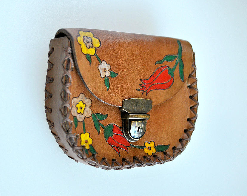 Hand Painted Leather Coin Purse