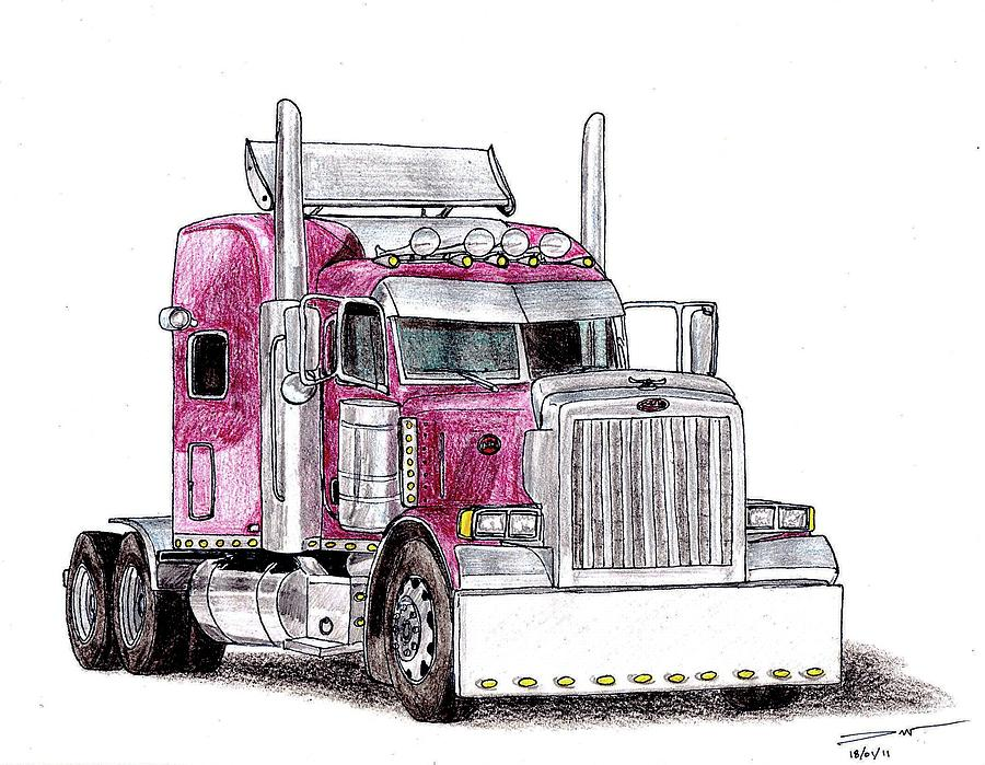 Custom Peterbilt Truck Cab Drawing