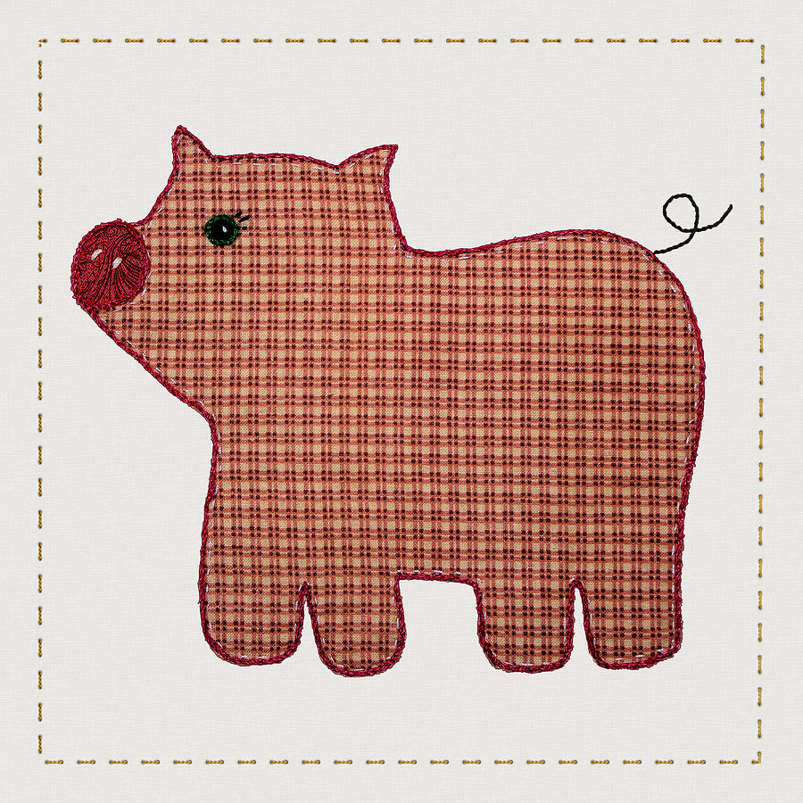 Cute Country Style Pink Plaid Pig Digital Art