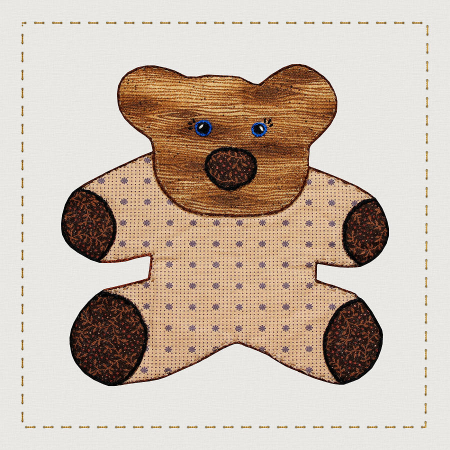 Cute Country Style Teddy Bear Digital Art  - Cute Country Style Teddy Bear Fine Art Print