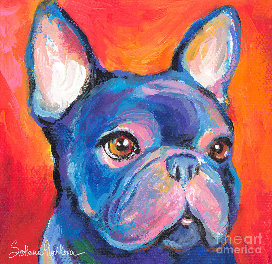 Cute French Bulldog Painting Prints Painting  - Cute French Bulldog Painting Prints Fine Art Print